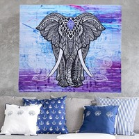 """""""Elephant Wall Hanging Beach Throw Towel""""/Mat Blanket with Tassels"""