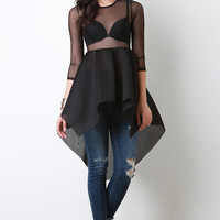 Sheer Mesh Lace Fishnet Peplum Top