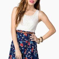 Floral Lace Belted Tank Dress