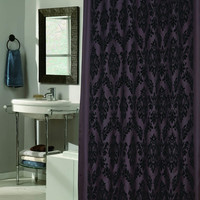 """Royal Bath Collection King's Seal Regal Fabric Shower Curtain with Poly Taffeta Flocking in Black/Brown Size: 70"""" x 72"""""""