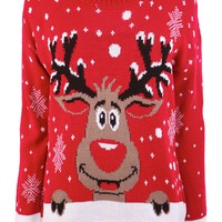 Stacey Reindeer And Snowball Design Knitted Jumper in Red at Fashion Union