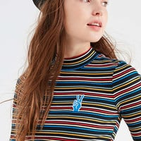 UO Zola Striped Mock-Neck Top | Urban Outfitters