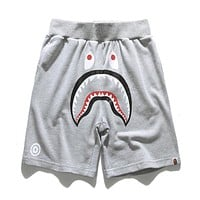 AAPE BAPE Fashionable Women Men Casual Pure Cotton Shorts Grey