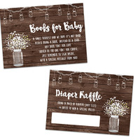 Mason Jar Baby Shower Diaper Raffle Tickets or Books for Baby