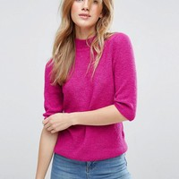 ASOS Jumper In Boucle With Half Sleeve at asos.com