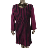 Style & Co. Womens Plus Knit Textured Sweaterdress