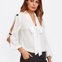 Front Bow Embellished Split Sleeve Tie Neck Blouse