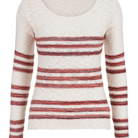 Lightweight Striped Pullover With Open Stitch Sides - Multi