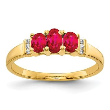 14K Yellow Gold Polished Triple Ruby and Real Diamond 3-stone Ring
