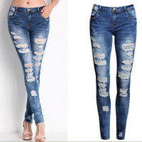 New Women's Hole Skinny Jeans Ripped Elastic Cotton Pencil Pants Casual Vintage Jeans 8046