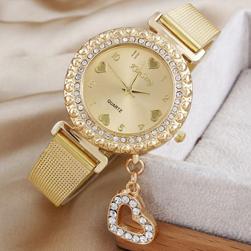 Diamond Gold Watches Ladies Heart Pendant Stainless Steel Quartz Watch