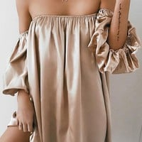 Satin Off-the-Shoulder Dress