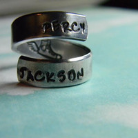 Percy Jackson flying sneaker  inside spiral hand stamped