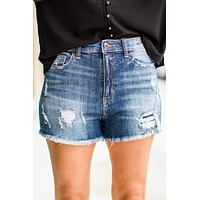 Get Frayed High Rise Short - Medium Wash