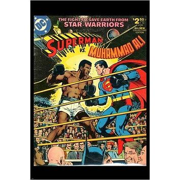 superman vs mohammad ali VINTAGE DC COMIC BOOK POSTER action RARE 24X36 hot
