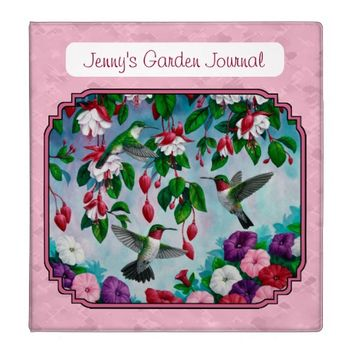 Hummingbirds and Flowers Pink 3 Ring Binder