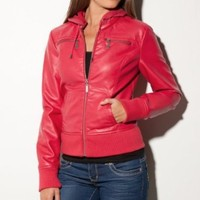 Amazon.com: G by GUESS Brooke Bomber Jacket with Hood: Clothing