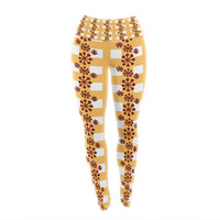 "Jane Smith ""Mushroom Repeat"" Brown Yellow Yoga Leggings"
