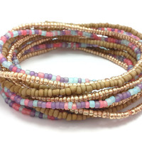 Seed bead wrap stretch bracelets, stacking, beaded, boho anklet, bohemian, stretchy stackable multi strand brown khaki gold pink blue purple