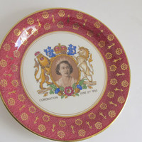 Queen Elizabeth Coronation Plate 1953 Royal Stafordshire Pottery Queen Elizabeth Souvenir Plate