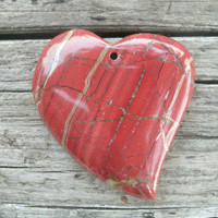 Red Jasper Heart Pendant Bead, has natural inclusions, Quartz inclusions, off white to gray thin bands, polished, drilled, slightly curves
