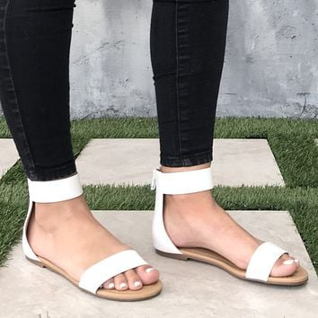Stella White Ankle Strap Flat Sandals