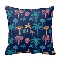 Palm Tree Leaf Floral Pattern Throw Pillow