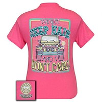Girlie Girl Originals Jeep Hair And Don't Care Summer Pink T Shirt