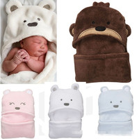 Lovely Infant Wrap Swaddle Sleeping Bag Blanket New Born Baby Candle Wrapping Clothing Coral Fleece Bath Towel