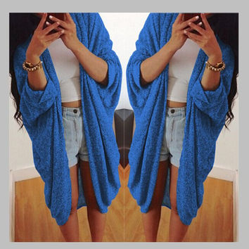 Blue Half Sleeve Long Coat