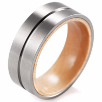 Incontedi - 8MM Wood Inner Band with Groove Titanium Ring