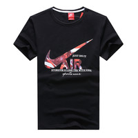 """Nike"" Fashion Cool Casual Multicolor Letter Print Round Neck Short Sleeve Cotton T-shirt"