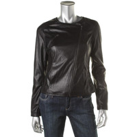 Bar III Womens Faux Leather Collarless Motorcycle Jacket