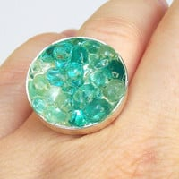 Sea Glass Resin Ring Seaglass Jewelry by tropEEcal on Etsy