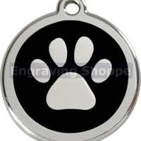 Black Paw Print Enamel and Stainless Steel Personalized Custom Pet Tag with LIFETIME GUARANTEE ID Tag Dog Tags and Cat Tags Free Engraving