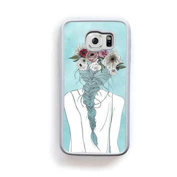 Flower crown girl illustration on blue for Galaxy S6