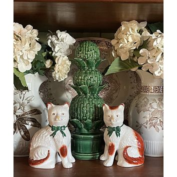 Pair of Antique White & Brown English  Staffordshire Mantel Cats w/ Green Bows