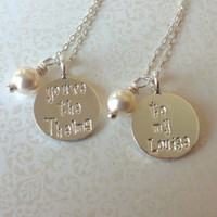 You're the Thelma ..To My Louise ..Best Friend Necklaces-Thai Silver Handstamped Set/Whimsical Font-Gift for Best Friend/BFF Gift