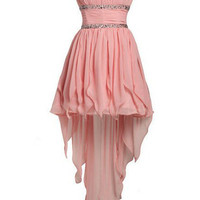 Sweet Pearl Pink A-line Strapless Mini Asymmetrical Prom Dress