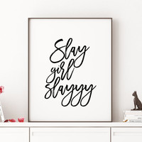 "Beyonce formation ""Slay Girl Slayyy"" typographic art print home decor song lyrics print Beyonce Quote Girl Room Decor Beyonce Print Beyonce"