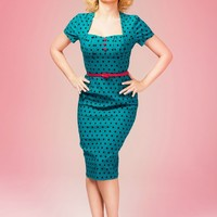 Charlotte Dress in Jade With Black Polka Dots