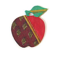 Red Apple Ornament Christmas ornament teacher's ornament hand painted wood and decoupaged black lace in green, red, metallic gold