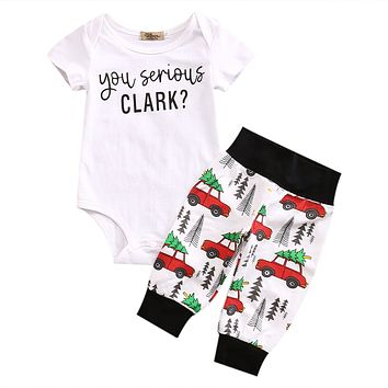 Christmas Cute born Infant Baby Boy Girl Clothes Romper Tops + Bus Long Pants 2PCS Outfit Set Baby Clothing