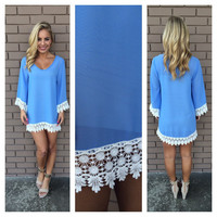 Blue Allison Crochet Long Sleeve Dress