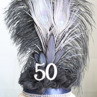 Gatsby navy, black and silver feather cake topper