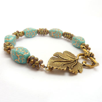 Turquoise Bracelet Gold Inlay Antiqued Gold by RockStoneTreasures