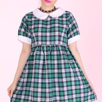 Glitters For Dinner — Made To Order - Annabelle Dolly Dress in Green Tartan