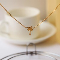 Boho Choker Gold Palm Tree Necklace Pendant Collier Femme Stainless Steel Chain Necklace For Women Island Life Bff Jewelry
