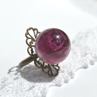 Real rose ring - rose in a resin ball - nature botanical jewelry - real flower ring - ecostyle jewelry - ring -r0018