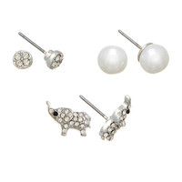 Set of 3 Crystal Pearl and Elephant Stud Earrings